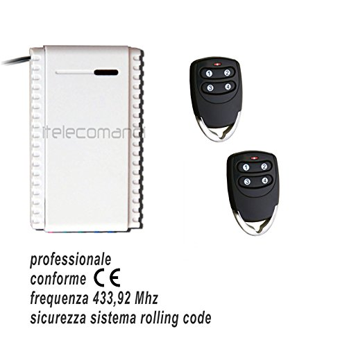Juego receptor + 2 mandos rolling code 433,92 MHz receptor 1 canal NO-C-NC universal 12-24 V + radiomando 3 canales