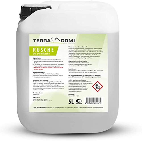 TerraDomi Rusche die Steindusche, 5 L, steenreiniger tot 2000 m², reinigingsmiddel voor schone paden & pleinen, reiniging van paden, biologisch afbreekbaar