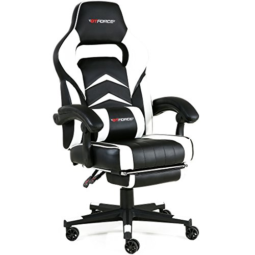 GTFORCE Turbo Reclining Sports Racing Gaming Office Desk PC CAR Faux Leather Chair (White)