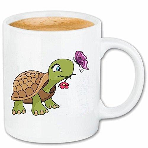 Reifen-Markt Tasse à café Turtle Doux avec Fleur ET Papillon Tortues LANDSCHILDRÖTE Tortues Marines Ninja Tortues d'eau Tortues Turtle Nessaja Céramique 330 ML en Blanc