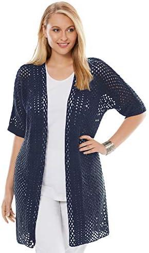 Jessica London Women s Plus Size Crochet Long Cardigan Sweater 18 20 Navy product image