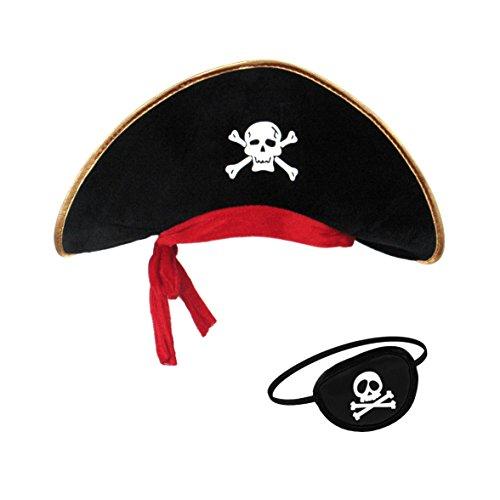 papapanda Piratenhut Augenklappe Set für Karibik Kapitän Kostüm