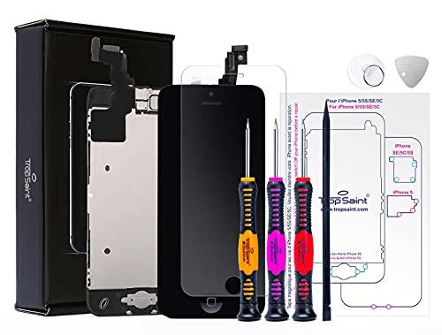 Trop Saint® Kit di Riparazione Vetro Schermo per iPhone 5C - Nero Ricambio Completo LCD Display - con Istruzioni, Attrezzi e Pellicola Protettiva in Vetro Temperato
