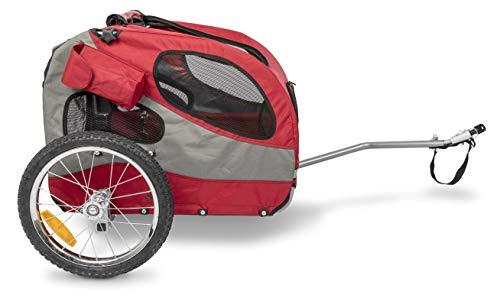 PetSafe Happy Ride Remorque de Vélo Pliable en Aluminium pour Chien de Taille Moyenne jusqu'à 22 kg, Sécurité, Facile à installer, 3 poches de rangement, Rouge