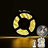CCILAND - Tira de luces LED con pilas, 3 metros, 90 tiras de luz para decoración, autoadhesiva, mando a distancia, temporizador,...