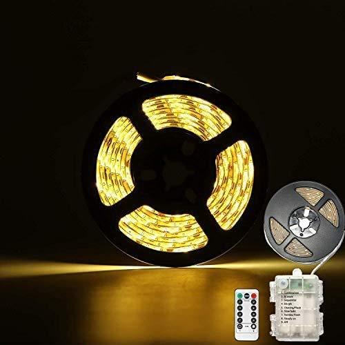 CCILAND LED Streifenlichter Batteriebetrieben, 3 Meter 90 LED Streifen Lichtleiste für Deko Schneidbar,Selbstklebend,Fernbedienung,Timer,8 Modi,Dimmbar Warmweiß (Warmweiß)