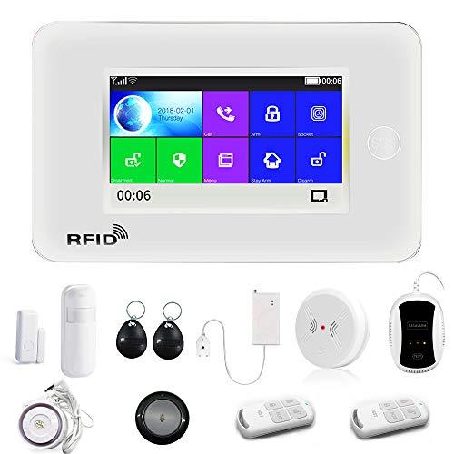 2G GSM WiFi Security Alarm System Kit, APP Control, Intelligent 4.5' Touch Display Voice Prompt | Wireless Burglar/Danger Alarm for Home Office, Motion Door Windows Sensor SOS Key 120dB Alarm