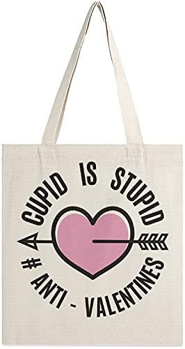 MODORSAN Cupid is Stupid Canvas Tote Bag, bolsos de hombro, bolsos de compras para niñas, bolsos de artículos diversos, bolsos para llevar libros