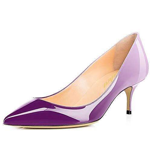 Damen Spitze Lackleder Eleganter Komfort Slip On Kitten Heel Kleid Pumps Schuhe Weiß-Lila Größe 42