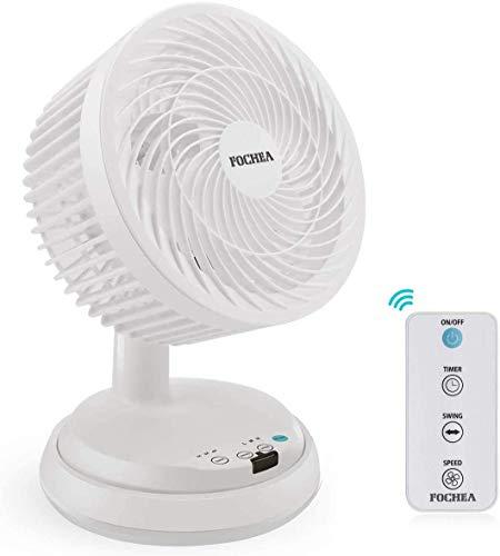 FOCHEA - Ventilador de mesa turbo potente con mando a distancia, 3 niveles ajustables, oscilante horizontal vertical y 7 ajustes de temporizador