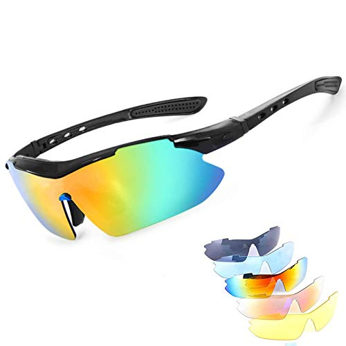 shangji Gafas Ciclismo Gafas de Sol Deportivas Polarizadas UV400 Protección con 5 Lentes Intercambiables Gafas Sol Deportivas para Conducir Ciclismo Correr Pesca (Black)
