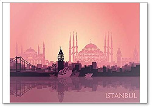Landschaft der türkischen Stadt Istanbul Kühlschrankmagnet, Motiv Abstrakte Skyline Illustration