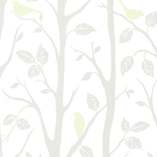 Brewster 2532-20445 Corwin Bird Branches Wallpaper, Light Green