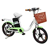 Whee Green - Electric City Bike/Bicycle for Adults & Teenagers Moped 20MPH, Max400W Brushless Gear Motor Extra Wider Tires 22 Miles Range Removable Battery (ACID) Comfortable Bike Seat, Made in TAIWAN