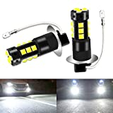 Viesyled H3 LED Fog Lights Bulbs, 80W 6000K White Super Bright Led Bulbs, 4000LM 3030SMD Waterproof Auto Car Vehicle DRL Driving Fog Lights Bulbs Lamps Replacement