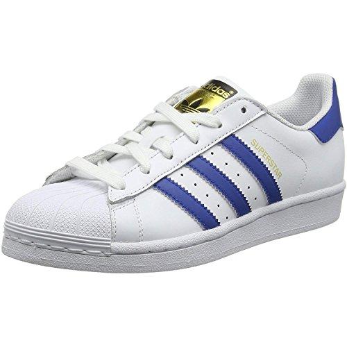 adidas - Superstar Foundation, Scarpe da ginnastica Unisex – Bambini, Bianco (Weiß (Ftwr White/Eqt Blue S16/Eqt Blue S16)), 38 EU