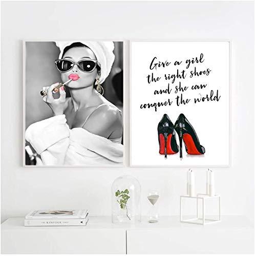 Surfilter Print auf Leinwand Klassische Hepburn Make Up Poster Drucke Leinwand Malerei Wandkunst High Helels Bild für Wohnkultur 23.6& rdquo; x 31.4& rdquo; (60x80cm) x2 No Frame