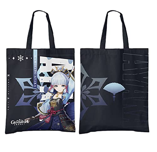 Genshin Impact Canvas Bag Anime Cosplay bolsa de hombro y bolsos para mujeres niñas viajes regalos de cumpleaños (Kamisato Ayaka)