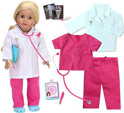 Sophia's 18 Inch Doll Doctor Outfit and Medical Accessories 10 Piece Doctor or Doll Nurse Set with Outfit and Accessories for Perfect for American Dolls and More! Shoes not Included