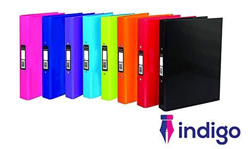 Indigo - Carpeta archivadora (A4, 2 anillas, 3 unidades), color Surtidos.