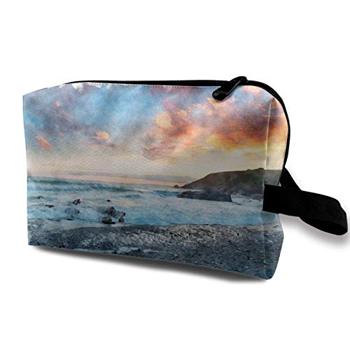 XCNGG Bolsa de almacenamiento de maquillaje de viaje Bolso de aseo portátil Bolso pequeño organizador de cosméticos para mujeres y hombres Puesta de sol sobre la playa Pintura de acuarela