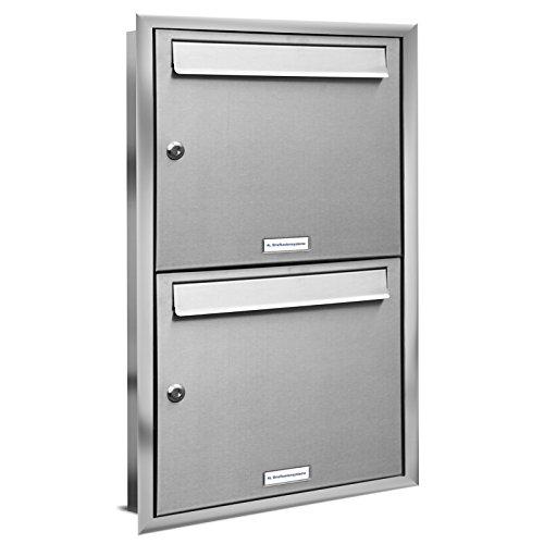 AL Briefkastensysteme, 2er Unterputzbriefkasten, Doppel-Briefkasten rostfrei, 2 Fach Briefkastenanlage modern, Edelstahl Postkasten