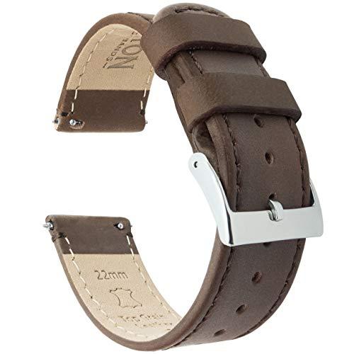 Schnellverschluß. - Top Marke Leder Uhrenarmbänder - Wahl der Farbe und Breite (18mm, 20mm or 22mm) Sattelleder/Sattelnaehte 18mm Uhrenarmbänd