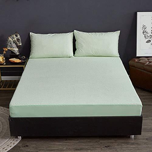 ABUKJM Funda de colchón impermeable de rizo de algodón, protector de colchón a rayas, transpirable, sábana bajera ajustable antiácaros (AC02, 180 x 200 x 30 cm)