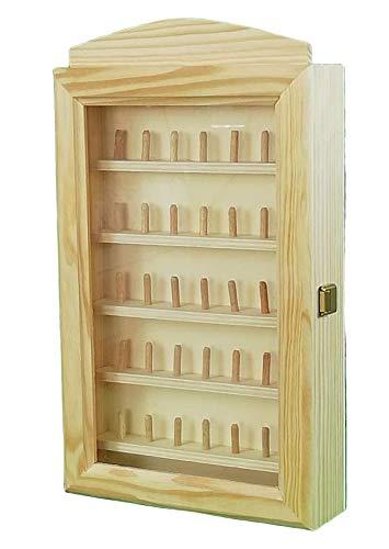 Vitrina colecciones dedales. Para 35 unidades (7 dedales * 5 baldas). Medidas: (ancho/fondo*alto): 23 * 6.5 * 40 cms. En madera de pino y chopo crudo.