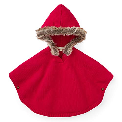 Hope & Henry Girls' Fur Trimmed Red Sweater Cape