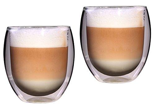 Feelino Rondo 2X 400ml XXL doppelwandige Thermo-Teegläser/Kaffeegläser, 2 x 400 ml