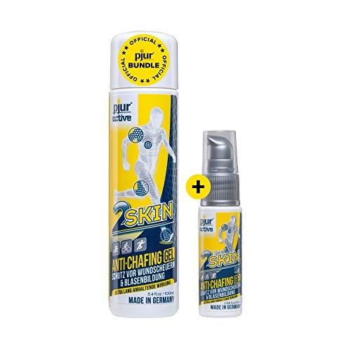 pjuractive 2SKIN - Anti-Chafing-Gel - Nie mehr Blasenpflaster & Wundscheuern - unsichtbarer & wasserfester Hautschutz (Vorteilspack: 100ml + 20ml)