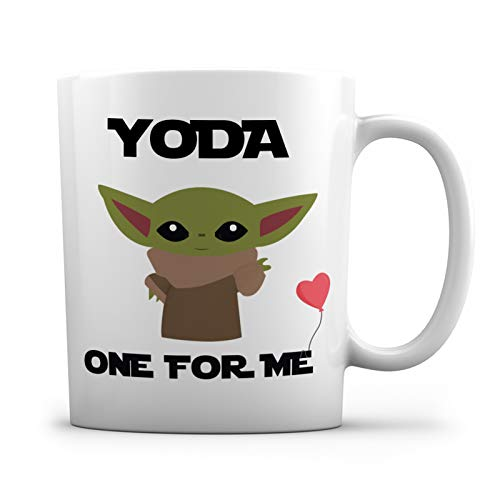 Yoda One For Me Funny Novelty Coffee Mug -11 oz.- Great Funny Gift Cup for Him, Her, Boyfriend, Girlfriend and Valentines Day, I Love You, His and Hers Mug, Anniversary Couple Mugs, Romantic Gifts