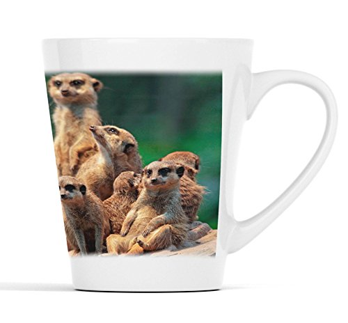 Erdmännchen Familie in der Sonne  Latte Macchiato Becher Kaffeebecher mit Fotodruck  006