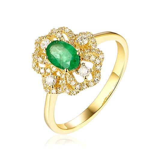 AueDsa Anillo Verde Anillo Oro Amarillo Mujer 18 Kilates Flor con Oval Diamante Esmeralda Verde Blanca 0.43ct Anillo Talla 25