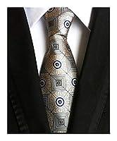 ブラックネクタイメンズネクタイ ファッションクラシックレッド・ブラック・ラベンダーブルージャカード織シルク100%メンズネクタイネクタイ花は、幾何学ストライプネクタイをチェック (Color : Y63)