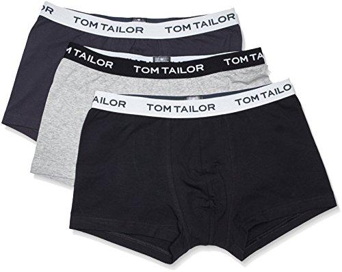 TOM TAILOR Underwear Herren Hip Pants 3er Pack 70162-6061 Retroshorts, Grau (Anthra-Melange-Black 9300), Medium (Herstellergröße: M/5)