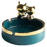 Cenicero creativo Cenicero creativo Cerámica linda bandeja de ceniza con oso de oro para al aire libre interior Holder Hermoso ceniza para el hogar de la oficina de la oficina-Black / Green Ashtray Re