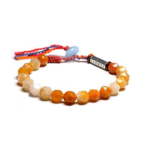 WSJKL Tíbetano OM Charm Tejido Rojo Pulsera Trenzada Pulseras Amarillo Jade Quartz Beads Meditación para Las Mujeres Hecho a Mano Chakra Lucky 8mm (Color : 18cm)