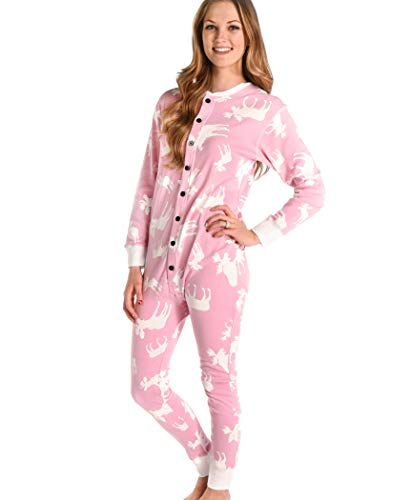 Classic Moose Pink Adult Flapjack Onsie Pajamas by LazyOne | Adult Kid Infant Dog Family Matching Pajamas (Large)