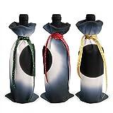 3 fundas para botella de vino con eclipse solar total, para decoración de mesa, para fiestas de Navidad, cena, regalo