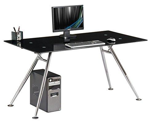 My_office Mega Escritorio, Acero Cromado y Cristal Templado, Negro, 150x 80x 76cm