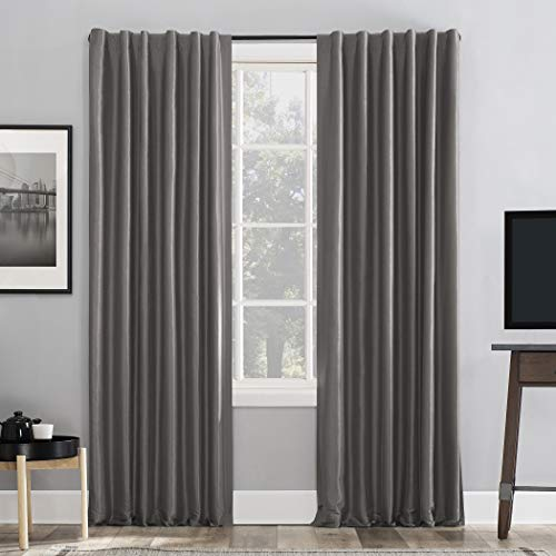 Sun Zero Greyson Faux Dupioni Silk Extreme 100% Blackout Back Tab Curtain Panel, 50