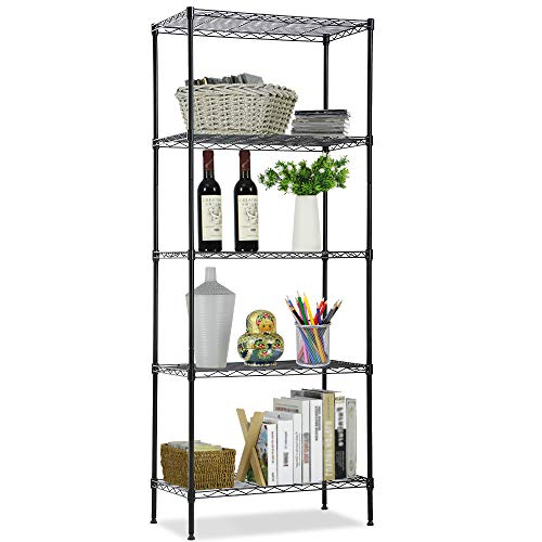 JS HANGER Wire Shelving Unit, 5-Tier Heavy Duty Height Adjustable Rolling Metal Shelves for Storage, 440 lbs Capacity, 23.23''W X 13.4''D X 71''H, Black