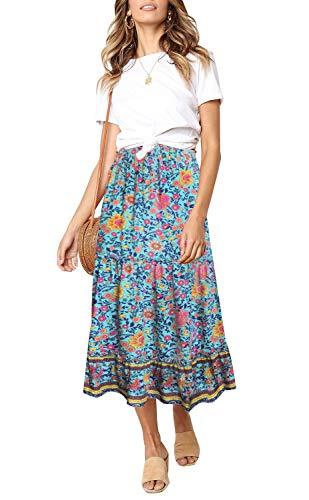 ZESICA Women's Bohemian Floral Printed Elastic Waist A Line Maxi Skirt with Pockets
