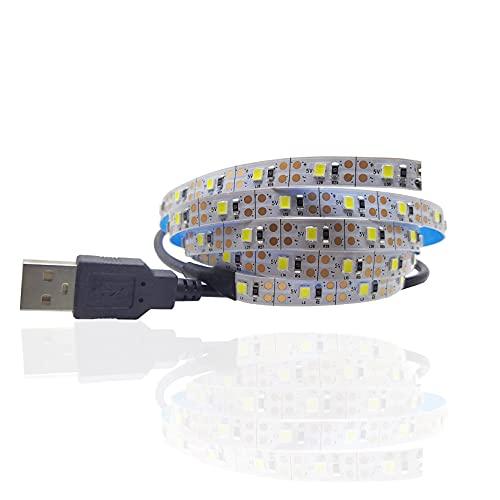 5V 3M USB Cable de alimentación LED tira de luz lámpara SMD 3528 Navidad escritorio decoración lámpara cinta para la iluminación de fondo de TV (blanco cálido, 3M con puerto USB)
