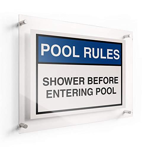 Not Branded Pool Rules Acrylschild Dusche vor dem Betreten des Pools, 10 830113