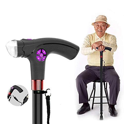 LIPENLI Multi-Function Intelligent Elderly Crutches, Aluminum Crutches Led Lamp Crutches Alarm You Can Radio Retractable Crutches 64Cm-97Cm