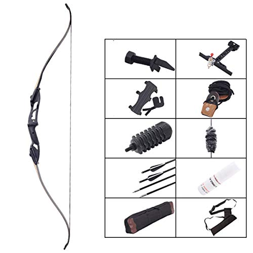 ZJJ Archery Set with Recurve Bow, Takedown Long Bow Kit included 10 Arrows and Quiver and Arrow Stand and Shock Absorber and Arm Guard - Great Outdoor Garden Game,40Lbs