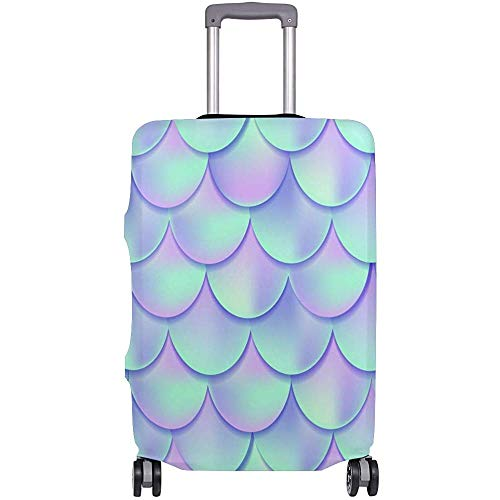 Holographic Pink & Blue Mermaid Tail Flexible Travel Luggage Cover Suitcase Protector Baggage Covers with Personalized Print Fits 18/19/20/21 Inch